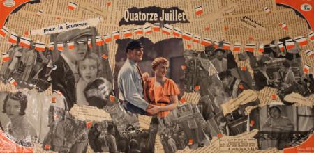 collage sur toile, 30x60cm